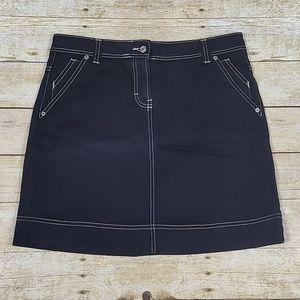 Boden Black Denim Skirt With Tan Stitching